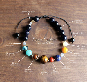 Natural Gemstone Beaded Solar System Stacking Bracelet