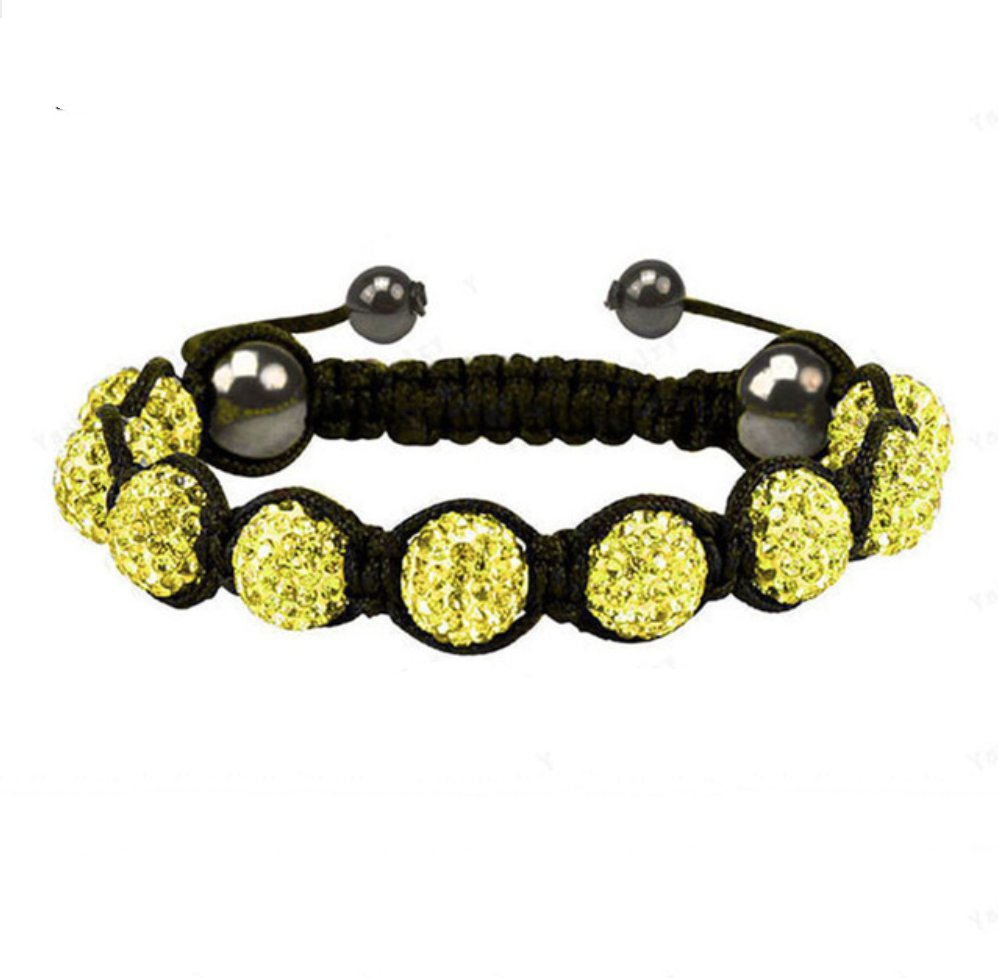 Yellow | Gold Crystal Beaded Macramé Cord Shamballa Stacking Bracelet