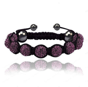 Purple Violet Crystal Beaded Macramé Cord Shamballa Stacking Bracelet