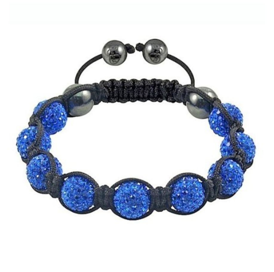 Dark Blue Indigo Crystal Beaded Cord Shamballa Stacking Bracelet - Egret Jewellery