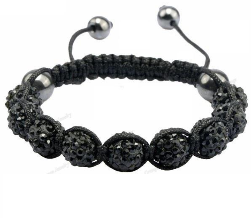 Black Crystal Beaded Macramé Cord Shamballa Stacking Bracelet Stacks