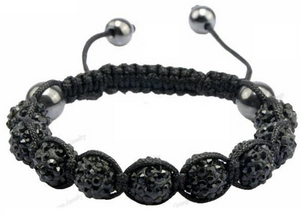Black Crystal Beaded Macramé Cord Shamballa Stacking Bracelet Stacks - Egret Jewellery