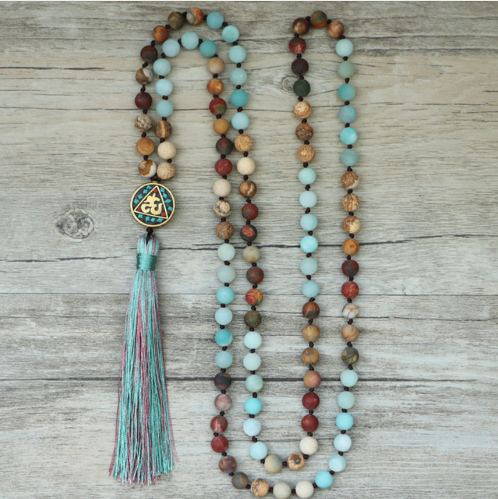 Long Boho Mala Gemstone Beaded Amazonite & Jasper Tassel Necklace