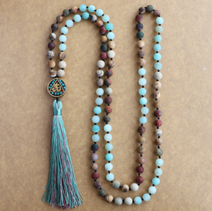 Long Boho Mala Gemstone Beaded Amazonite & Jasper Tassel Necklace - Egret Jewellery