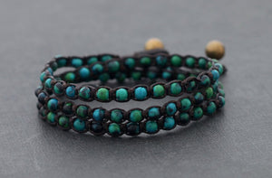 Chrysocolla Beaded Shamballa Stacking Wrap Bracelet Men's | Women's