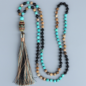 Long Boho Mala Gemstone Beaded Turquoise & Onyx Tassel Necklace