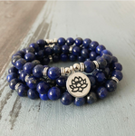 Blue Lapis Lazuli Beaded Bracelet Wrap, Mala Beads Lotus Necklace
