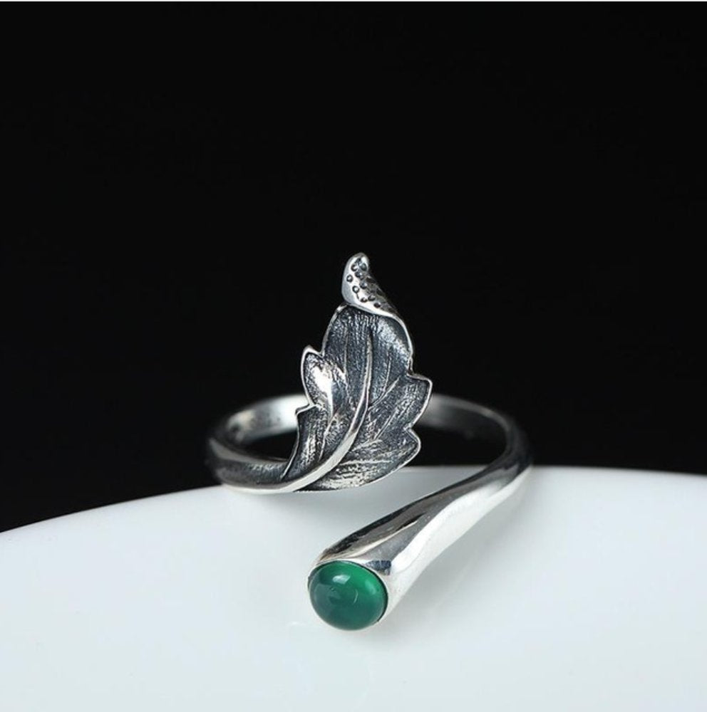 Boho 925 Sterling Silver Jade Oak Leaf Adjustable Stacking Ring - Egret Jewellery