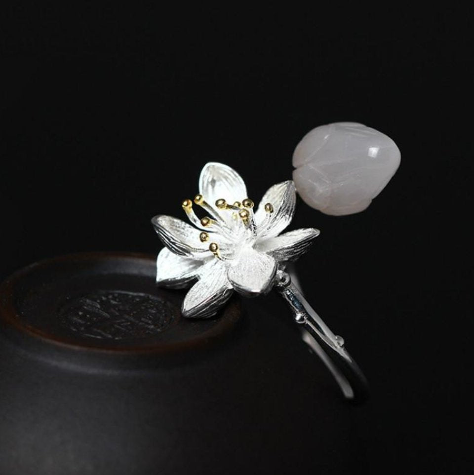 Sterling Silver Lotus Flower Rose Quartz Branch Bud Wrap Ring