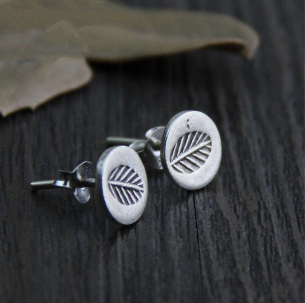 Boho Sterling Silver Leaf Stud Earrings