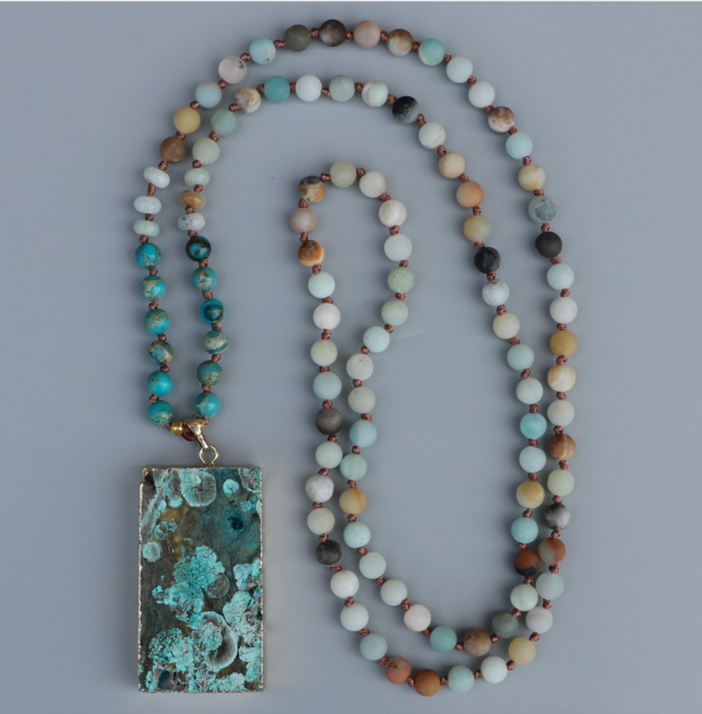 Druzy Lariat Imperial Jasper & Amazonite Geode Beaded Necklace