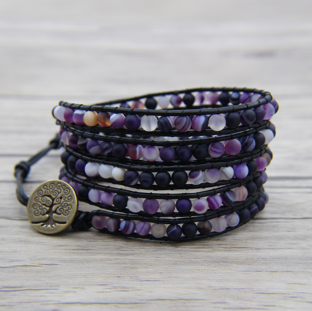 Natural Amethyst Leather Beaded Wrap Bracelet