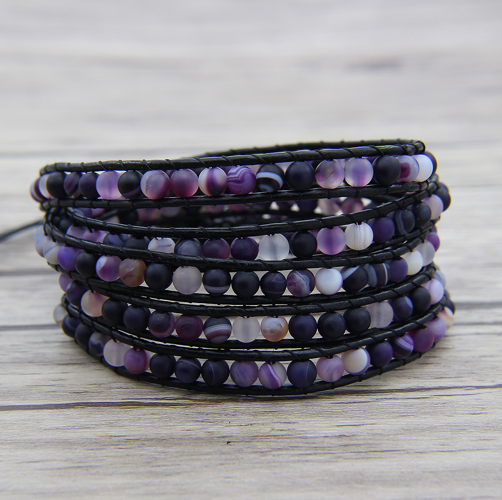 Natural Purple Banded Agate Leather Beaded Wrap Bracelet - Egret Jewellery