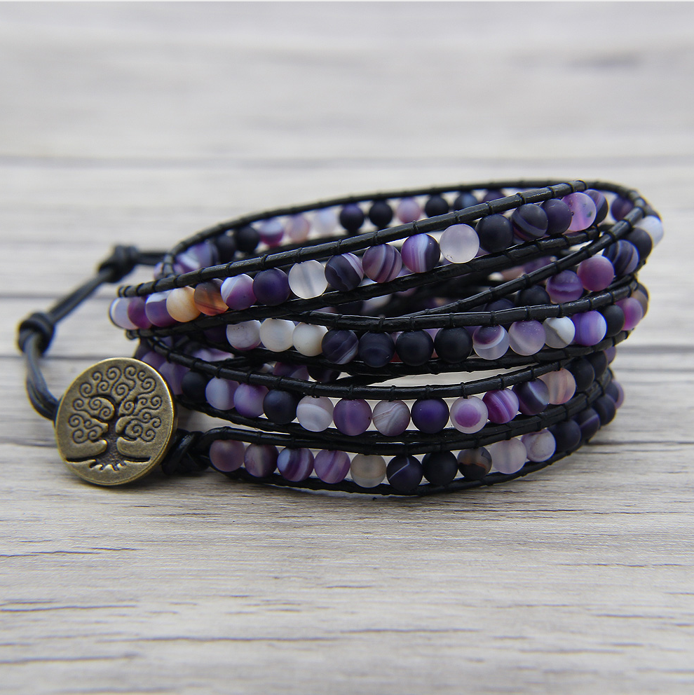 Natural Purple Banded Agate Leather Beaded Wrap Bracelet