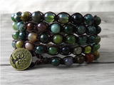 Green African Jade Beaded Shamballa Wrap Stacking Bracelet