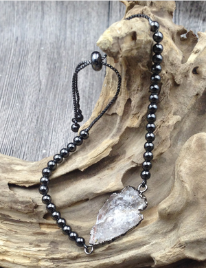 Beaded Arrowhead Hematite & Quartz Druzy Geode Stacking Bracelet - Egret Jewellery
