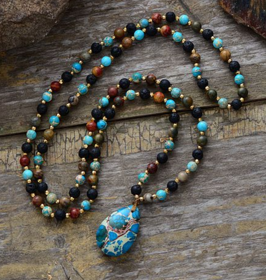 Gemstone Mala Imperial Jasper & Lava Rock Beaded Teardrop Necklace