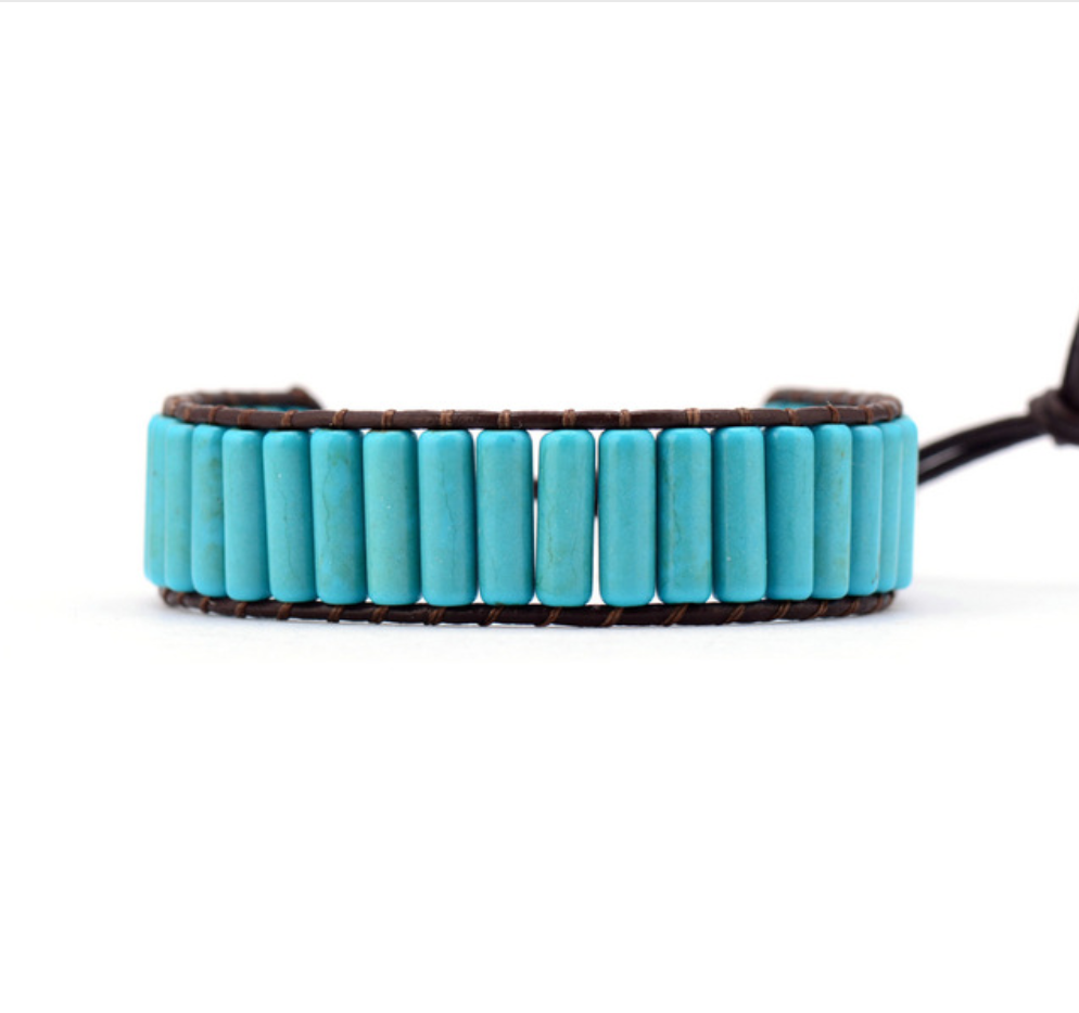Natural Beaded Oblong Blue Turquoise Leather Cuff Bracelet