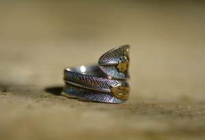 925 Sterling Silver Feather Ring Butterfly, Leaf Gold Statement - Egret Jewellery