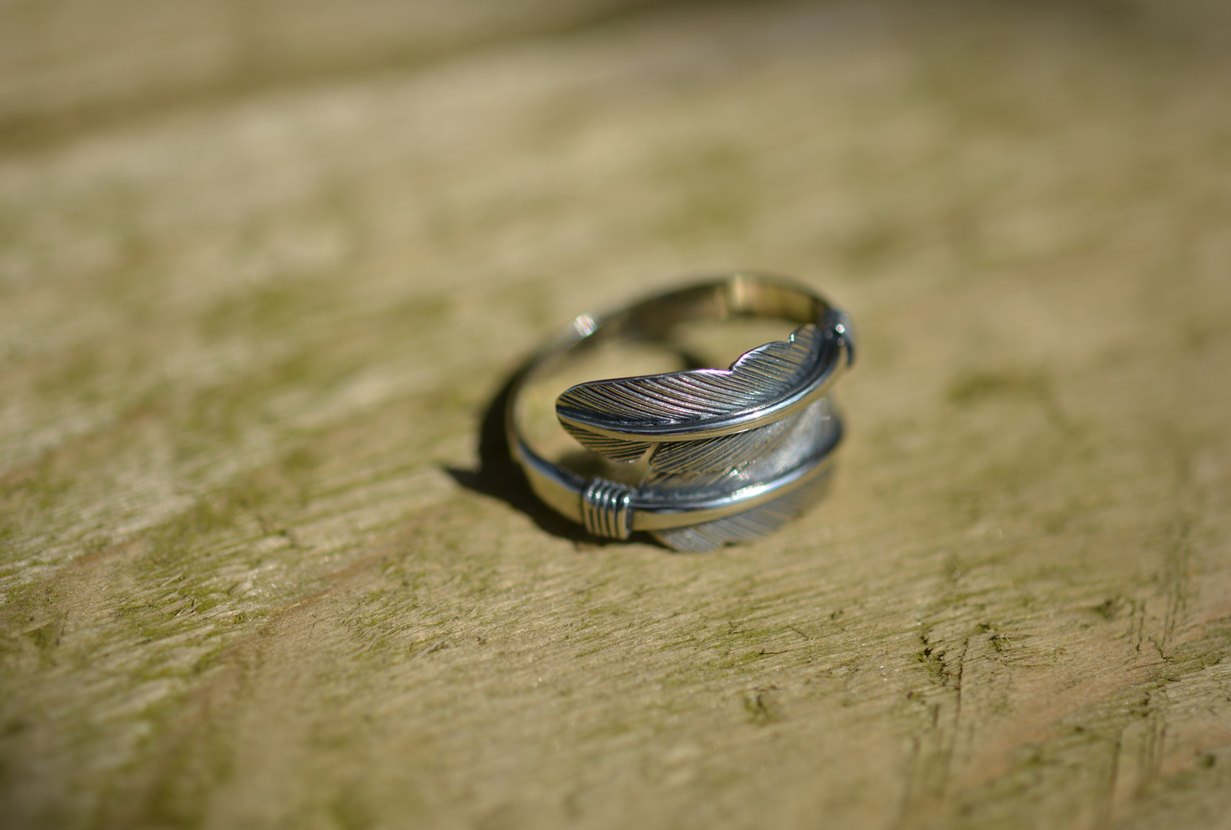 Sterling Silver Adjustable Wrap Feather Ring