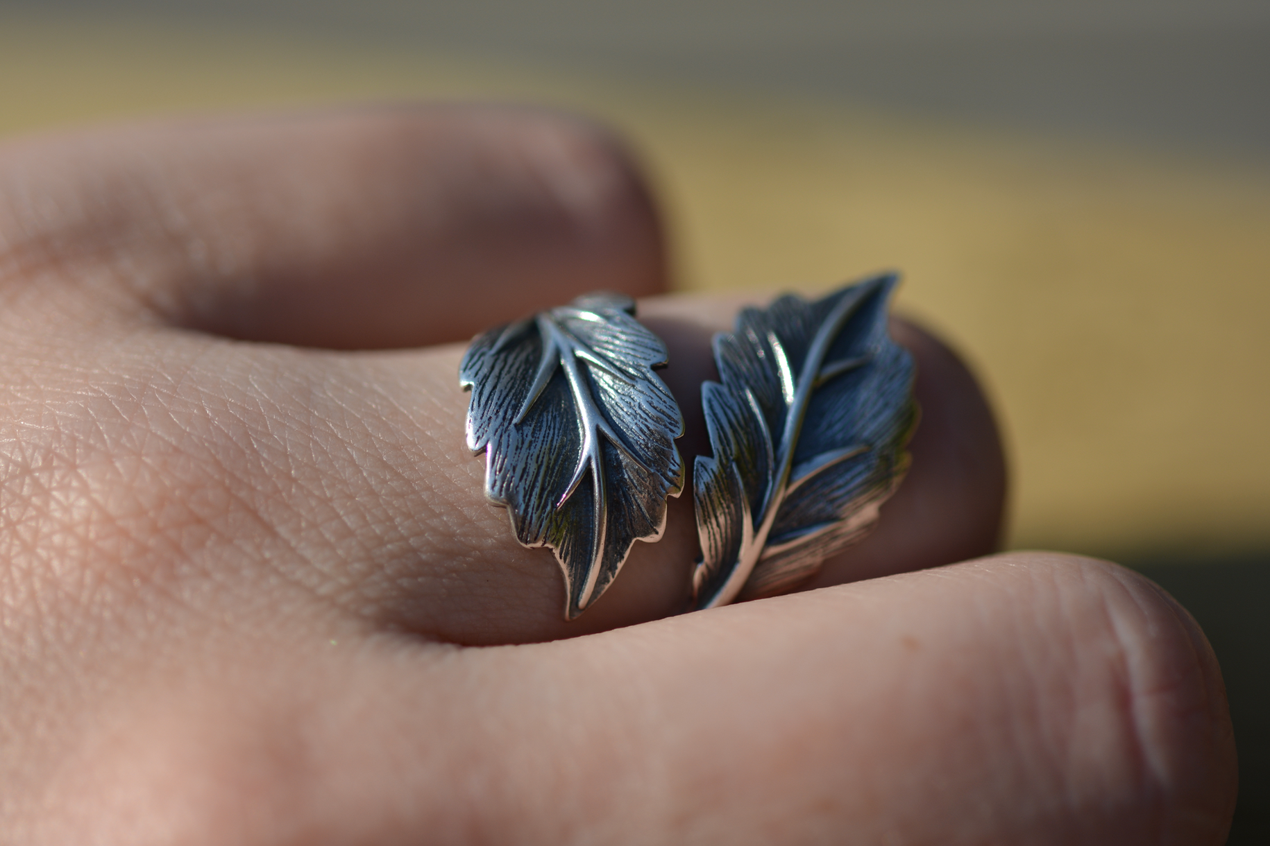 Sterling Silver Adjustable Leaf Wrap Statement Ring - Egret Jewellery