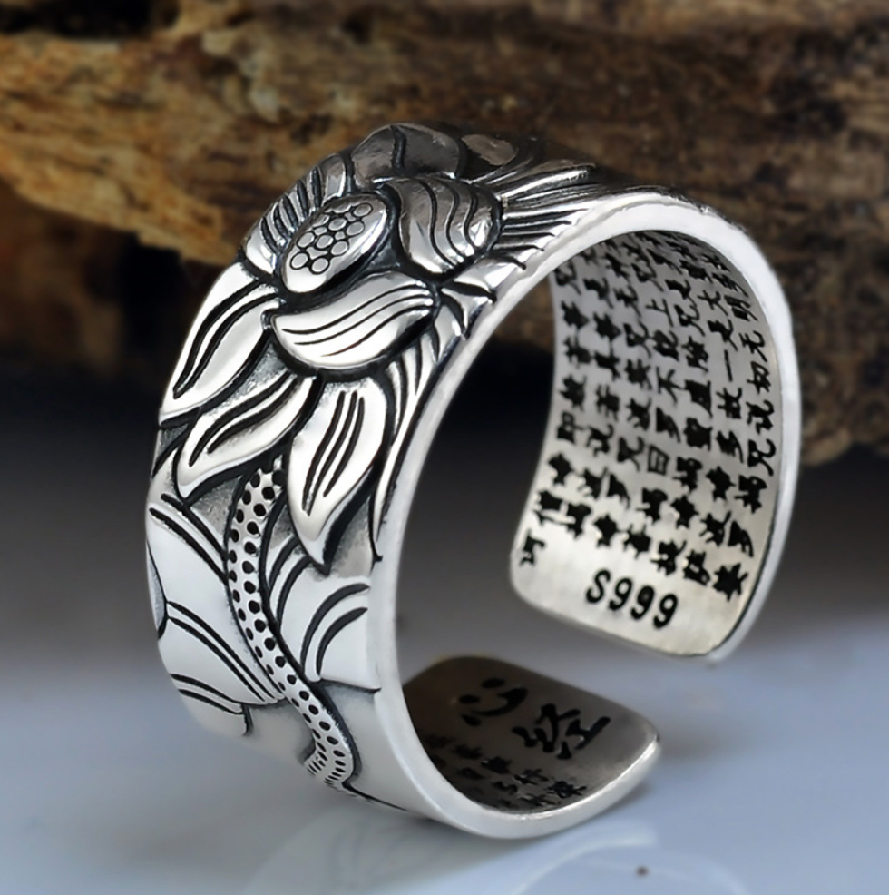 925 Sterling Silver Engraved Sutra Buddhist Mantra Lotus Ring - Egret Jewellery