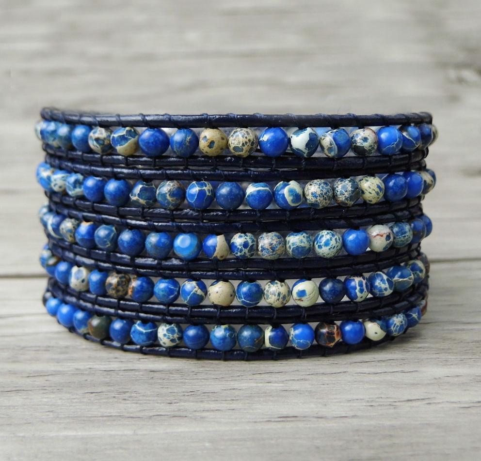 Blue Sea Sediment Jasper Beaded Stacking Wrap Bracelet Leather - Egret Jewellery