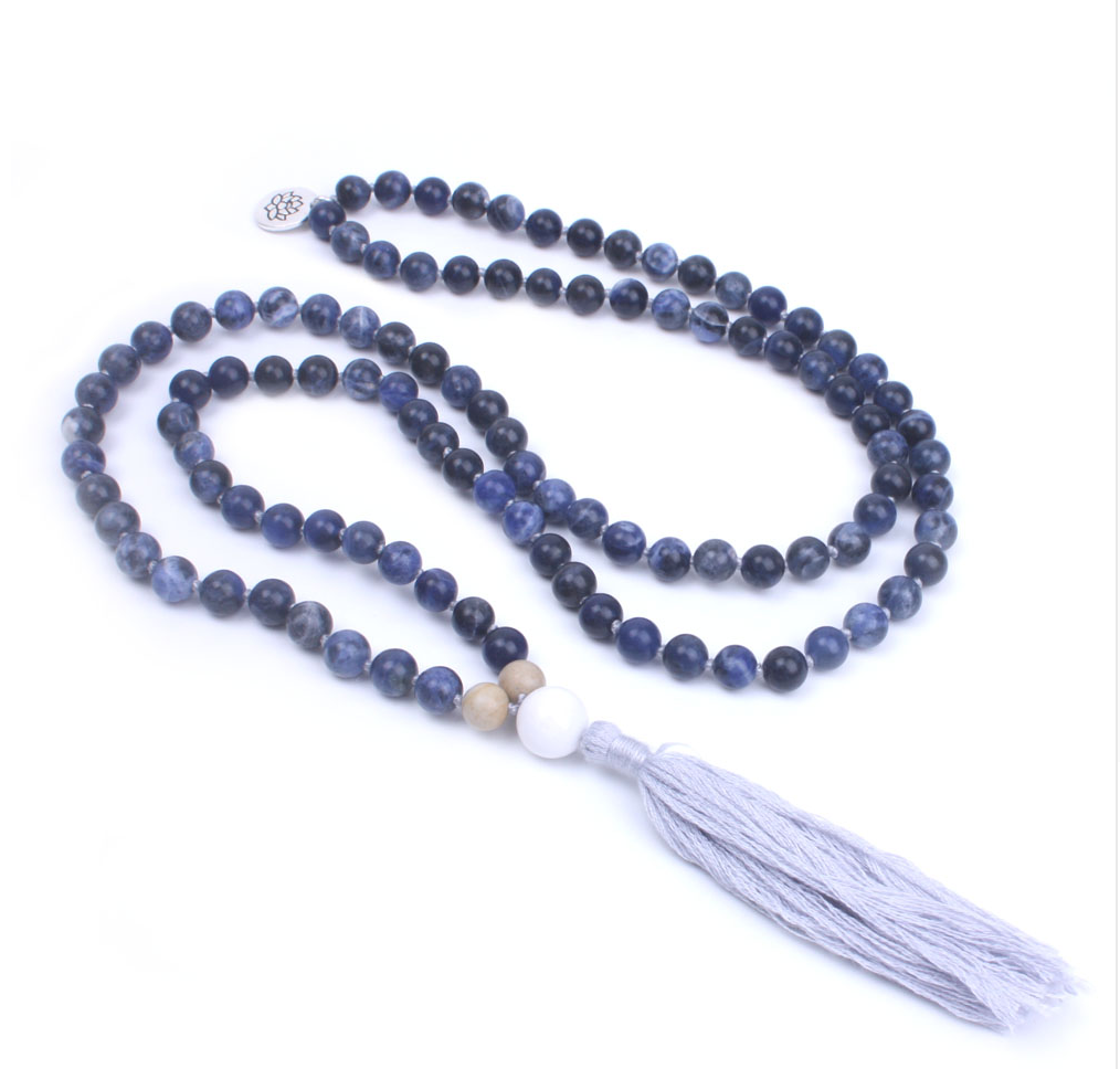 Blue Natural Sodalite Beaded Mala Lotus Tassel Necklace