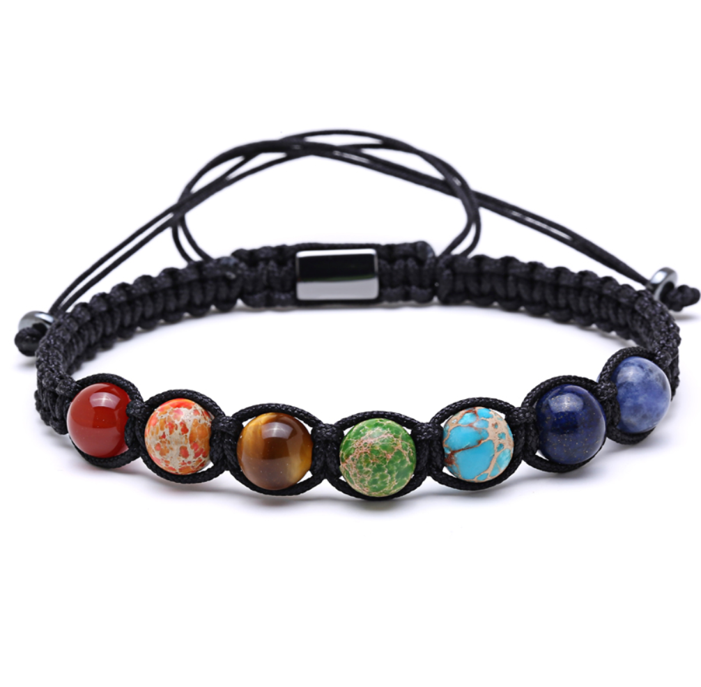 Men's Tiger's Eye, Amethyst, Chakra Beaded Shamballa Bracelet - Egret Jewellery
