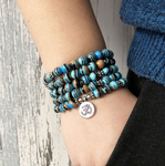 Blue Malachite Beaded Wrap Bracelet, Mala Beads OM Necklace