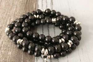 Black Onyx Beaded Bracelet Wrap, Mala Beads Necklace Buddha