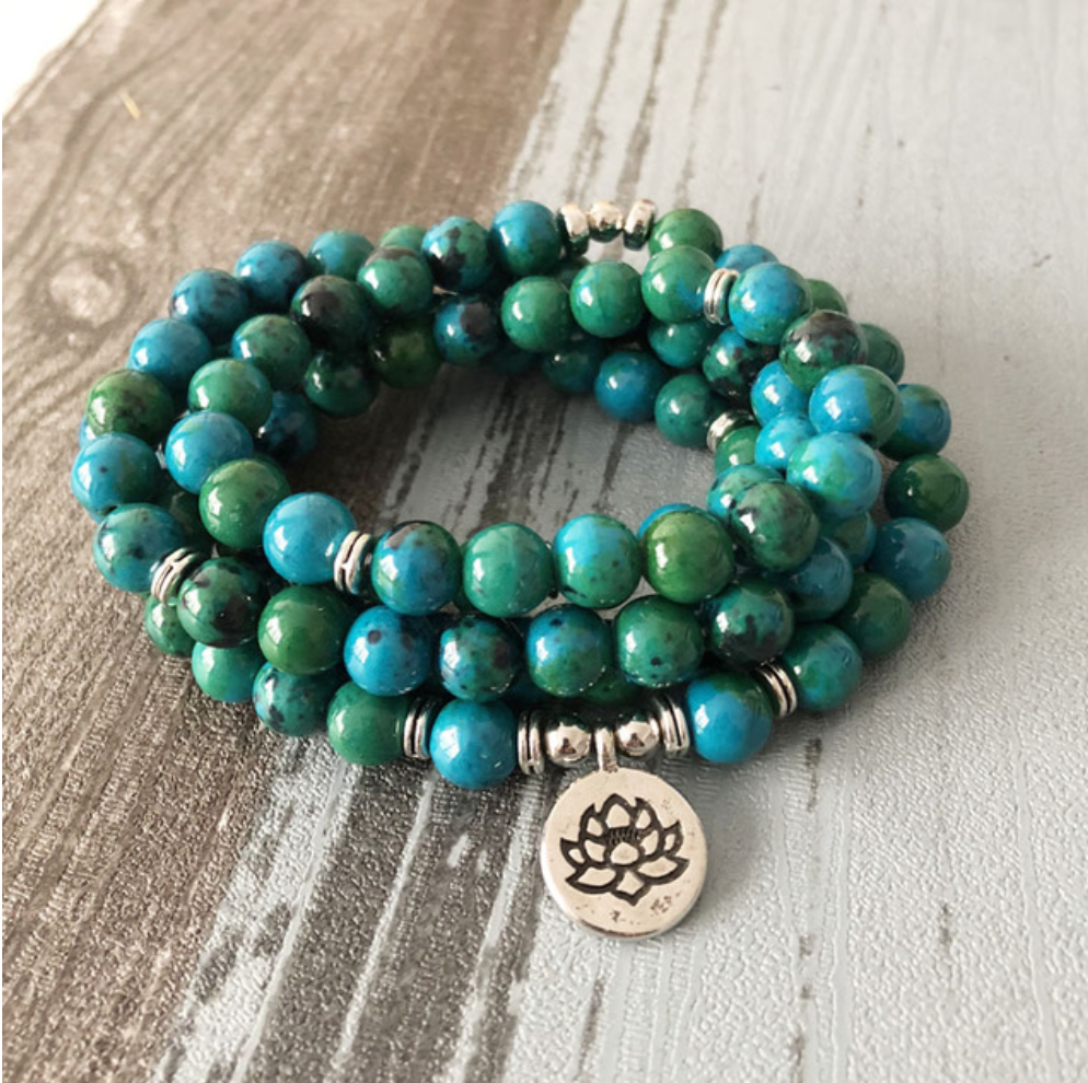 Chrysocolla Beaded Bracelet Wrap, Mala Beads Lotus Necklace - Egret Jewellery