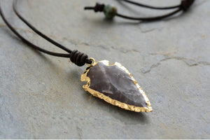 Boho Leather Arrowhead Spear Flint Stone Necklace Men's Women's - Egret Jewellery
