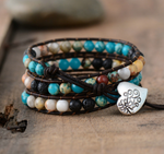 Natural Lava Rock & Imperial Jasper Beaded Wrap Bracelet