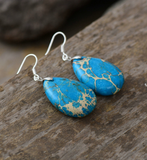 Natural Stone Turquoise & Silver Dangle Earrings