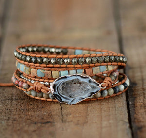 Natural Ocos Agate & Jasper Beaded Gemstone Geode Wrap Bracelet