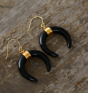 Boho Large Black Agate Double Horn Gold Drop Earrings