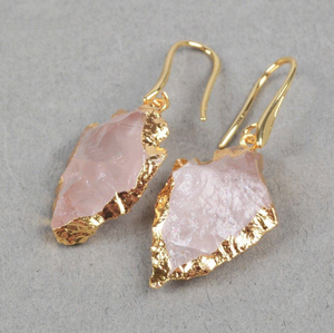 Natural Rough Rose Quartz Gold Arrowhead Boho Druzy Geode Earrings - Egret Jewellery