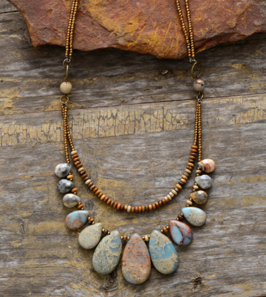 Natural Stone Teardrop Beaded Agate, Jasper Boho Layered Necklace