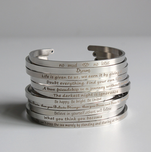 "Silver Law Of Attraction Cuff Bangle Stacking Bracelet ""Be Happy, Be Bright"" - Egret Jewellery"