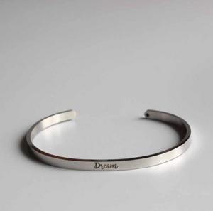 "Silver Law Of Attraction Cuff Bangle Stacking Bracelet "" Dream"" - Egret Jewellery"