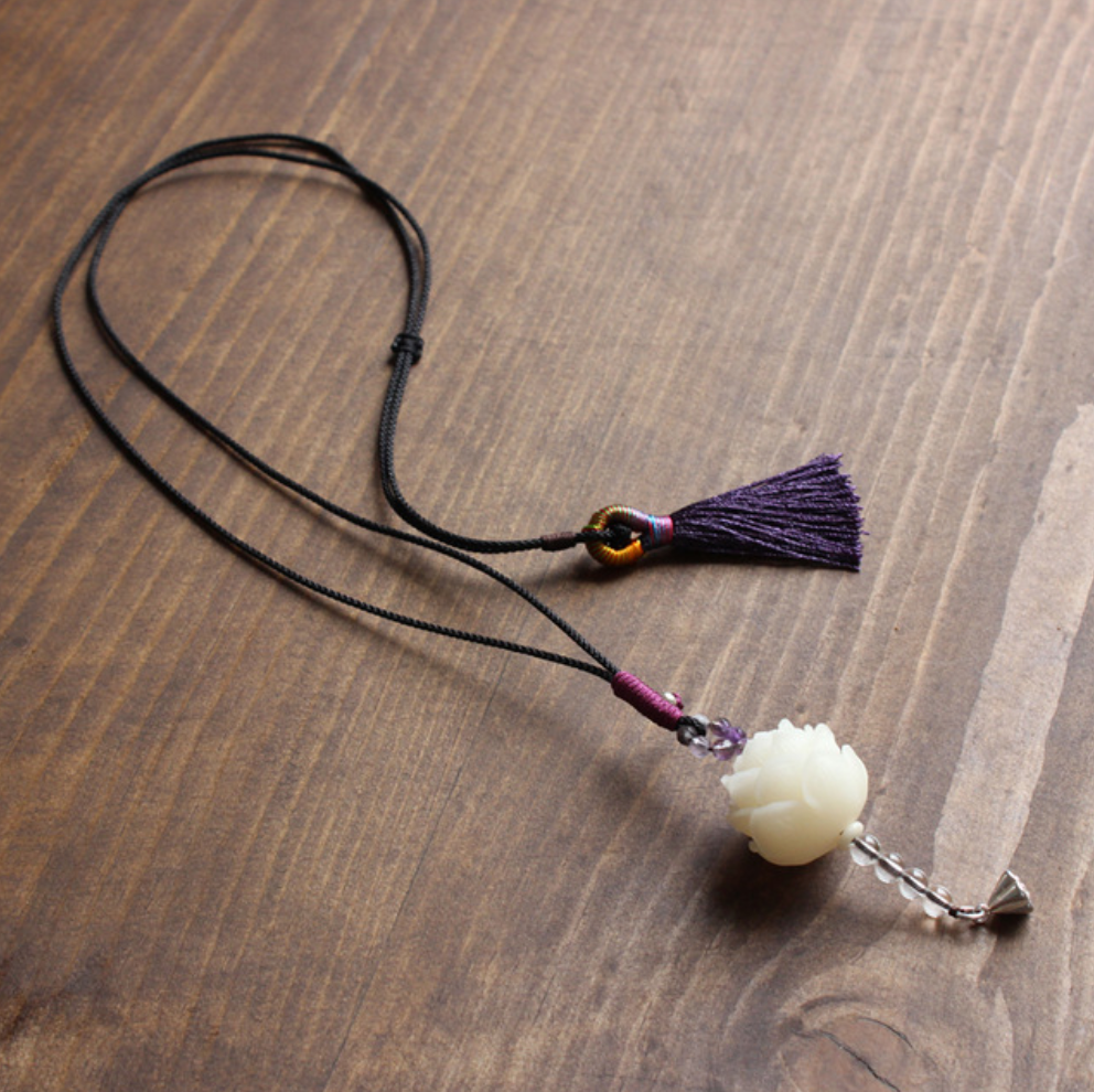 Natural Lotus - Rope with Bodhi Seed Necklace Amethyst Lucky