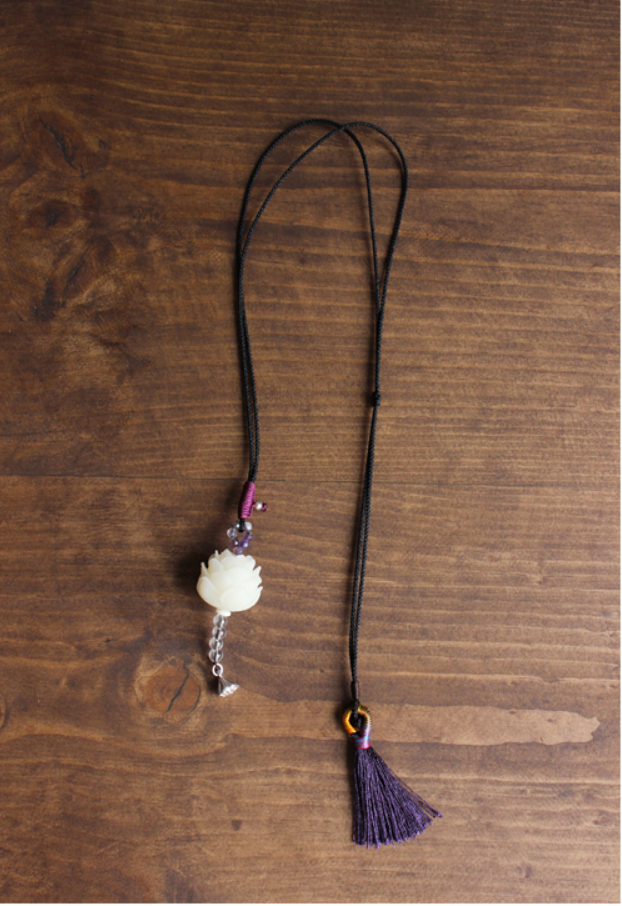 Natural Amethyst Lucky Lotus - Rope Bodhi Seed Necklace