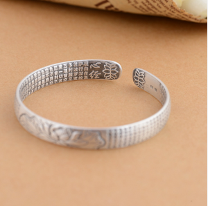 Sterling Silver Engraved Sutra Buddhist Mantra Lotus Bracelet