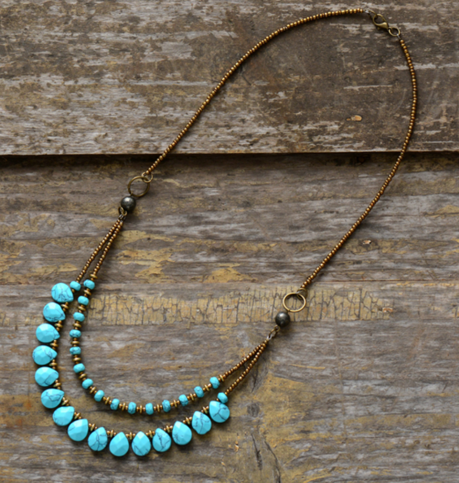 Stone Teardrop Beaded Turquoise & Agate Boho Layered Chakra Necklace