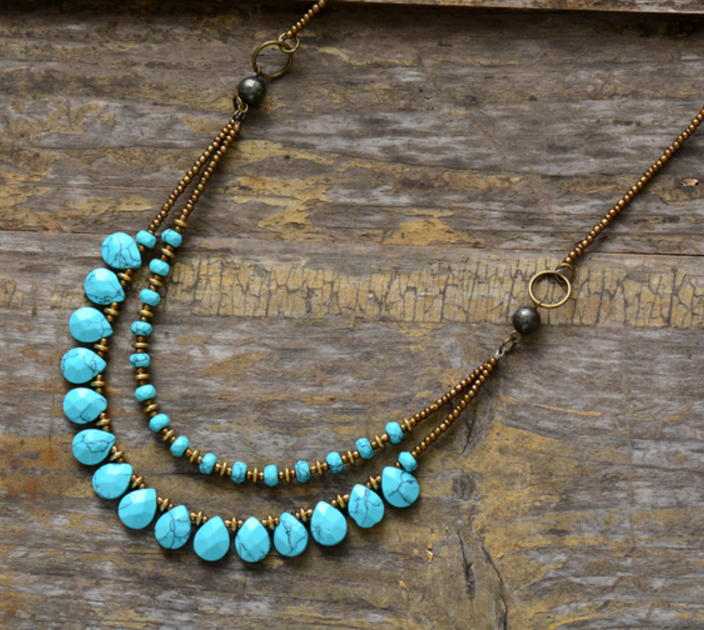 Stone Teardrop Beaded Turquoise & Agate Boho Layered Chakra Necklace - Egret Jewellery