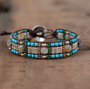 Natural Gemstone Turquoise & Amazonite Cuff Bracelet