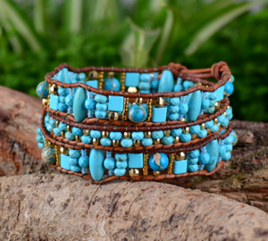 Gemstone Beaded Turquoise Seed Beads Leather Wrap Bracelet - Egret Jewellery
