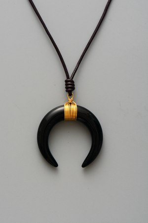Long Boho Leather Black Agate Horn Necklace