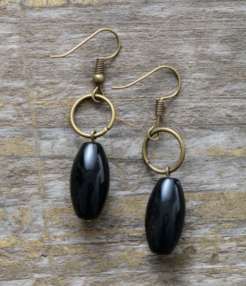 Bronze Pear Cabochon Onyx Dangle Drop Earrings - Egret Jewellery